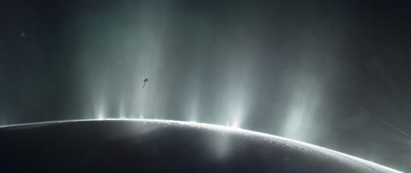 This illustration shows Cassini diving through the Enceladus plume in 2015. Credits: NASA/JPL-Caltech