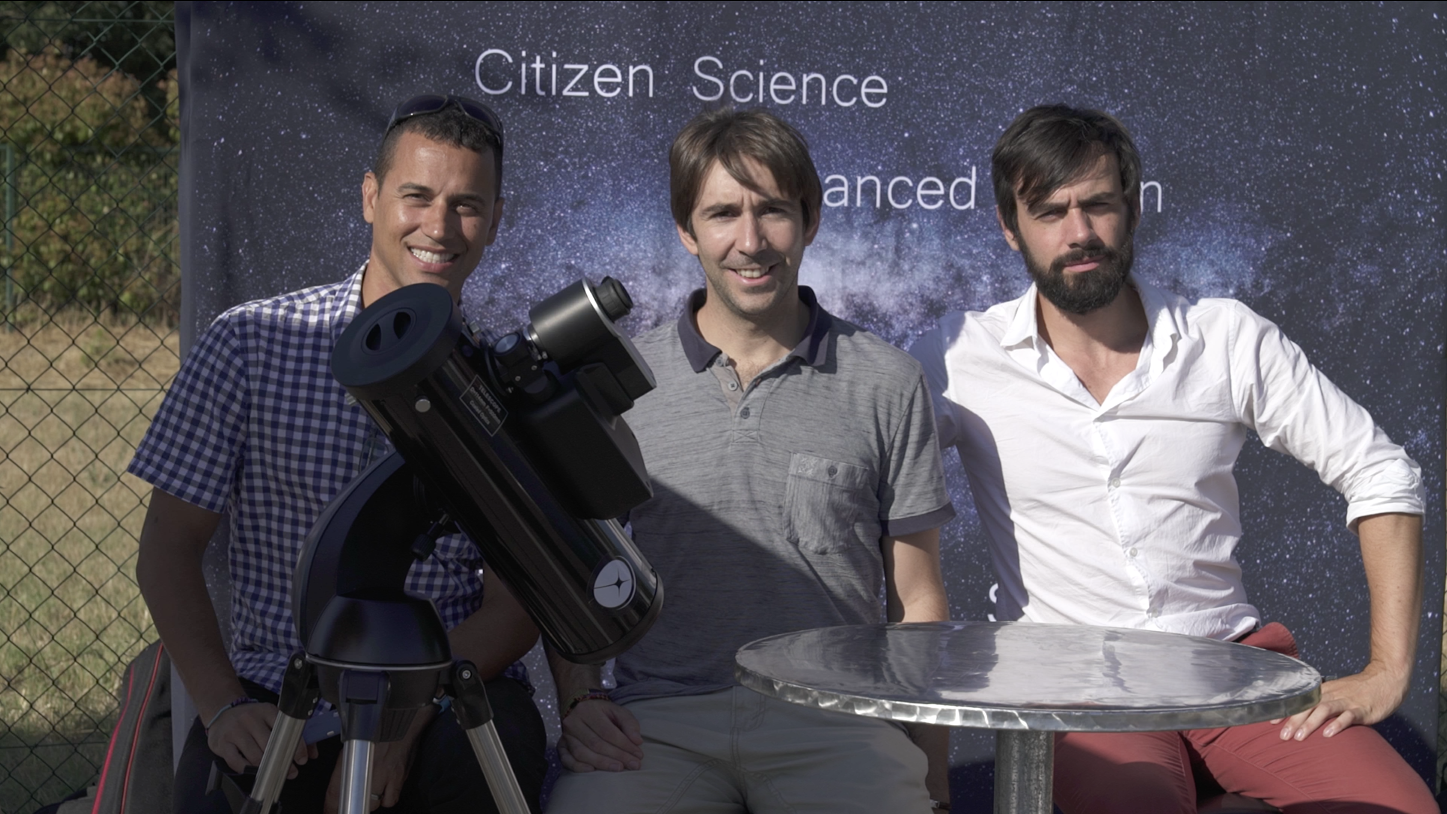 From left to right: Franck Marchis (CSO and SETI Institute astronomer), Arnaud (Chairman and CTO), Laurent (CEO) and the demo prototype shown at Aix-en-Provence, France in June 2017
