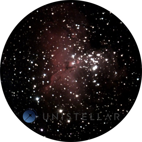 Observation of the Eagle Nebula Messier 16 using a Unistellar telescope from Observatoire des Baronnies Provençales, France. This observation can be seen by the user directly in the lens and an image can later be generated for storage in the Unistellar database at the SETI Institute