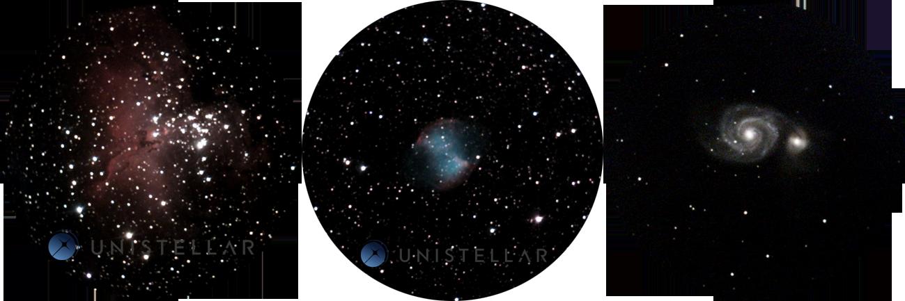 Observações de Dumbbell Nebula Messier 27, Whirlpool galaxy Messier 51 e Eagle Nebula Messier 16 usando um telescópio Unistellar do Observatoire des Baronnies Provençales, na França. Esta observação pode ser vista pelo usuário diretamente na lente e uma imagem pode ser gerada posteriormente para armazenamento na base de dados Unistellar no Instituto SETI.