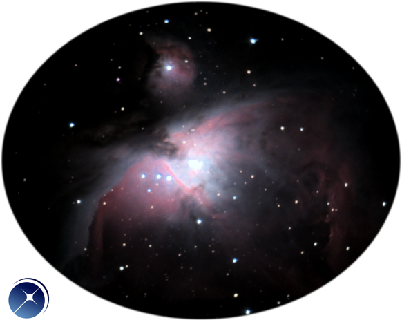 Picture of the Orion Nebula observed with the eVscope from Pourrière, South of France (magnification x 50).
