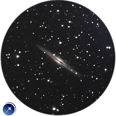 Picture of the galaxy NGC891 taken with the eVscope from Pourrieres, France. (magnification x100)